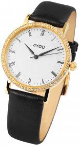 Armbanduhr Weiss Gold Schwarz Kunstleder 4YOU 250007001