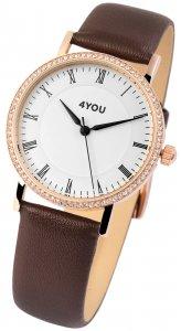 Armbanduhr Weiss Rosé Braun Kunstleder 4YOU 250007002