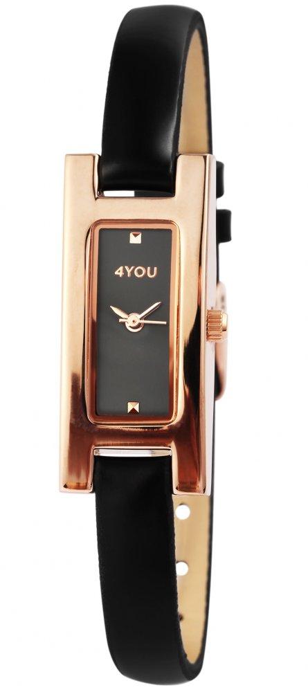Armbanduhr Schwarz Rosé Kunstleder 4YOU 250011001