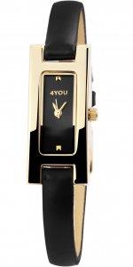 Armbanduhr Schwarz Gold Kunstleder 4YOU 250011000