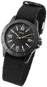 Armbanduhr Schwarz Textil 4YOU 250000028