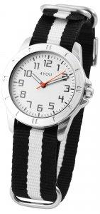 Armbanduhr Weiss Silber Schwarz Textil 4YOU 250000022