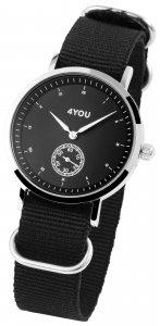 Armbanduhr Schwarz Silber Textil 4YOU 250001011