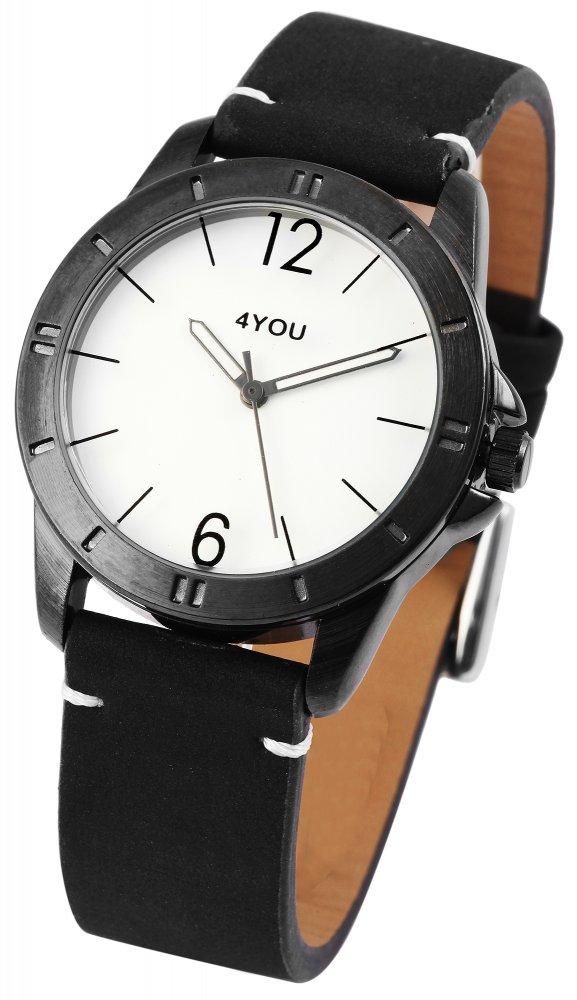 Armbanduhr Schwarz Kunstleder 4YOU 250000020