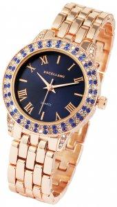 Armbanduhr Blau Rosé Crystal Metall Excellanc 1800037