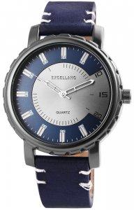 Armbanduhr Blau Silber Schwarz Kunstleder Excellanc 2900043