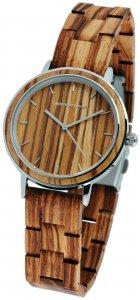 Armbanduhr Holz Braun Zebraholz Edelstahl Leonardo Verrelli 1800134-003