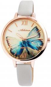 Armbanduhr Gelb Rosé Grau Schmetterling Kunstleder Adrina 1900139