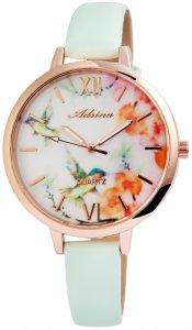 Armbanduhr Weiß Rosé Grün Kolibri Kunstleder Adrina 1900139