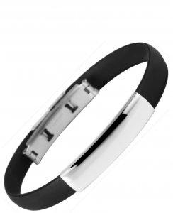 Armband Kautschuk Edelstahl Schwarz K4902 Akzent