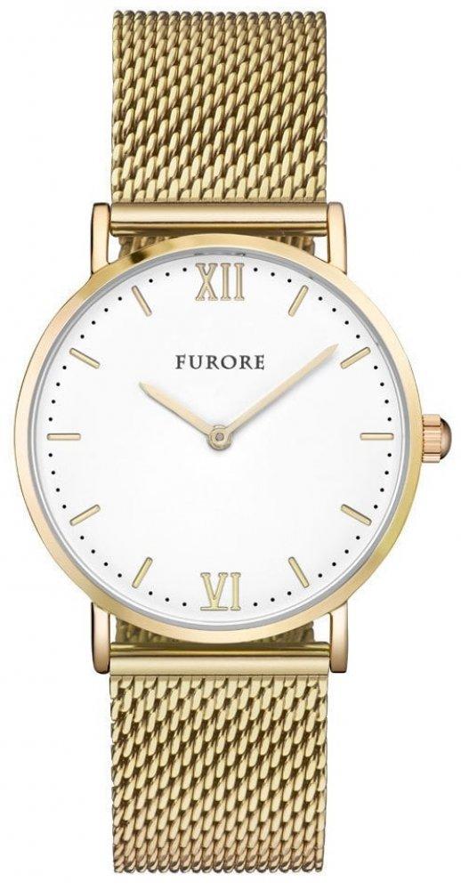 Armbanduhr Weiss Gold Edelstahl Meshband FURORE FU1003