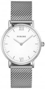 Armbanduhr Weiss Silber Edelstahl Meshband FURORE FU1001