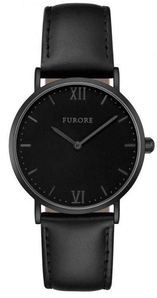 Armbanduhr Schwarz Leder Black Wave FURORE FU1007
