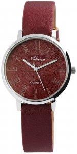 Armbanduhr Rot Silber  Kunstleder Adrina 1900137