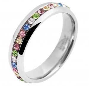 Ring Silber glänzend Bunt Crystal Edelstahl Akzent 5060046