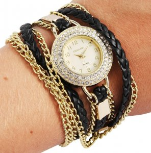 Armbanduhr Gelb Gold Schwarz Wickelarmband Excellanc 1900181