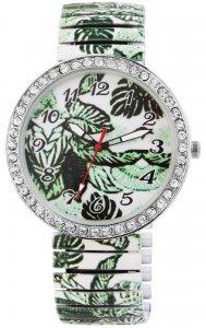 Armbanduhr Grün Weiss Blume Crystal Metall Zugband Donna Kelly 1700041