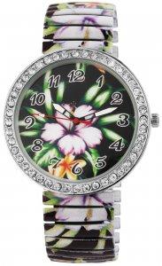 Armbanduhr Grün Bunt Blume Crystal Metall Zugband Donna Kelly 1700041