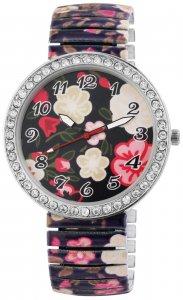 Armbanduhr Rot Bunt Blume Crystal Metall Zugband Donna Kelly 1700041