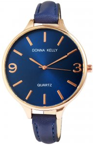 Armbanduhr Blau Rosé Kunstleder Donna Kelly 1900003