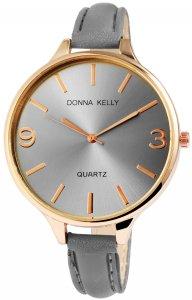 Armbanduhr Grau Rosé Kunstleder Donna Kelly 1900003