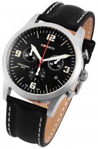 Armbanduhr Schwarz Silber Leder Chronograph M-Watch WBL.08420.LB