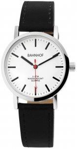Armbanduhr Weiß Silber Schwarz Kunstleder Bahnhof