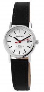 Armbanduhr Weiß Silber Schwarz Kunstleder Datum Bahnhof