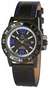 Armbanduhr Schwarz Blau Leder Automatik CARUCCI CA2184BL
