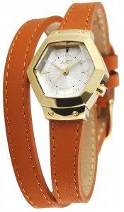 Armbanduhr Silber Gold Braun Wickelarmband JUST JU10076