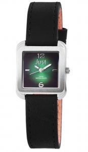 Armbanduhr Grün Silber Schwarz Leder JUST JU10151