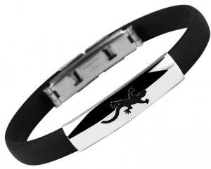 Armband Kautschuk Edelstahl Schwarz Eidechse Gecko 5030268-015 Akzent