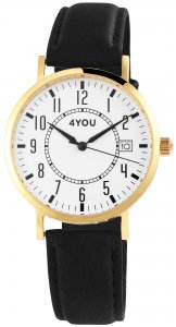 Armbanduhr Weiss Gold Schwarz Kunstleder 4YOU 2900145