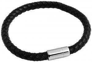 Armband Schwarz Silber Leder 18 cm Akzent