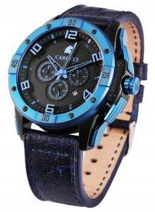 Armbanduhr Schwarz Blau Leder Chronograph CARUCCI  CA2214N-BL