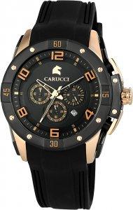 Armbanduhr Schwarz Rosé Silikon Chronograph CARUCCI CA2214BK-RG