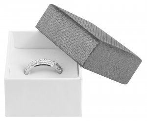 Ringbox Karton Grau Weiß 5 x 5 x 3,5 cm