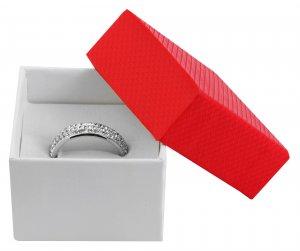 Ringbox Karton Rot Weiß 5 x 5 x 3,5 cm