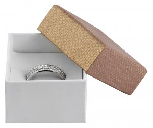 Ringbox Karton Gold Weiß 5 x 5 x 3,5 cm